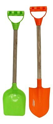 Set Of 2 Tall Beach Spades Green & Orange Toy Spades For The Sand  • 6.99£