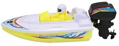 Toy Motor Boat Speed Boat Yellow 21cm Boat For The Bath Battery Operated • 6.99£