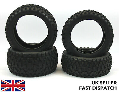 4 X Knobbly Claw Off Road 4WD RC Buggy Tyres 1/10 Scale & Foam Inserts 1/10th • 11£