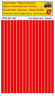 RC VINYL DECALS TRANSFERS  STRIPES LINING  PRE CUT  FPRC663  RED  GLOSS  7mm • 6.95£