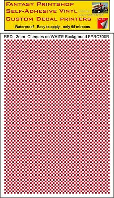 CHEQUERED  RED  SQUARES  2mm   Vinyl Sticker Transfers  Decals FPRC700R • 6.95£