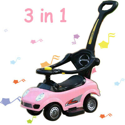 3 In 1 Ride On Car Baby Kids Push Along Car BoysGirls Toddler Walker With Music • 34.99£
