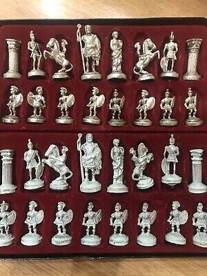 Full Set Of Metal Roman Greek Silver And Gold Chess Set Boxed • 40£