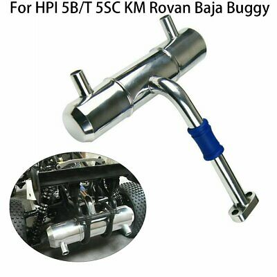 For HPI 5B 5T 5SC KM Rovan Baja Buggy Truck Twin Tuned Exhaust Pipe Metal RC Car • 28.49£