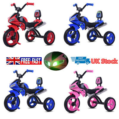 New Kids Motorcycle Style Trike Tricycle Children Boys/Girls 3 Wheels Pedal Bike • 34.99£