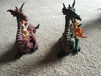 Papo Fire Breathing Dragon Figures Red And Green • 9£