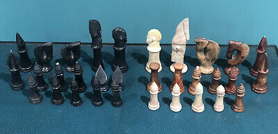 Unusual Hand Carved Stone Chess Pieces • 9.99£