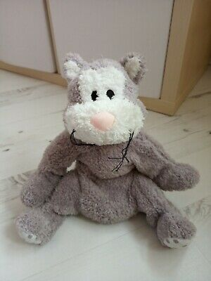 Soft Cuddly Toy - Grey & White With Spotted Bow Approx 38cm Long • 1.99£