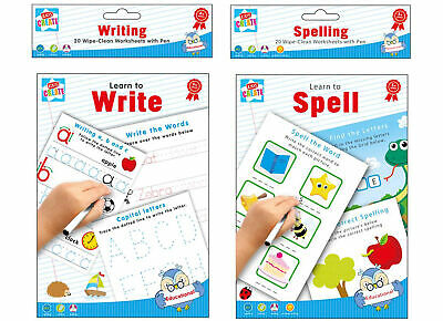 20 Wipe Clean Educational Learning Worksheets With Pen Kids Writing Spelling • 2.99£