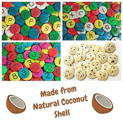 Natural Coconut Counters Alphabet, Numbers And Emotions Counters. Sensory & Fun • 14.95£