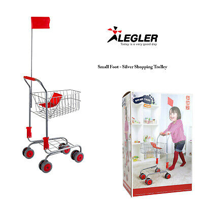 Legler Small Foot Silver And Red Hand Push Seat Lightweight Toy Shopping Trolley • 24.98£