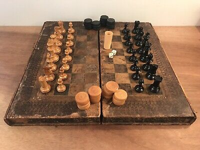 Antique Bookshelf Mock Book Binding Chess Backgammon Games Board & Pieces • 120£