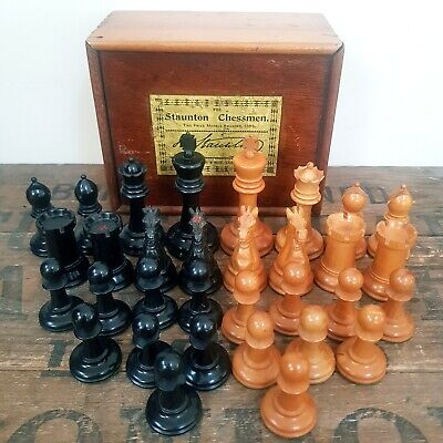 Antique Rare Jaques Staunton Chessmen & Box Circa 1862-1895 • 750£