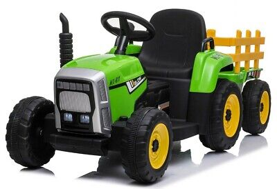 Kids Electric 12v Battery Ride On Tractor And Trailer - Green • 137.95£