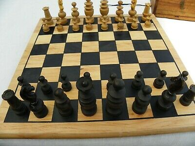 Vintage French Regency Style Chess Set Complete; King 6 Cm. Wooden Box And Board • 19.99£