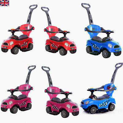 3 In 1 Kids Music Ride On Car Toddlers Push Along Walker Car With Parent Handle • 29£