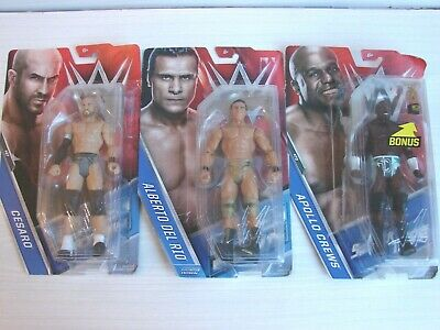 3 X MATTEL WWE WRESTLING FIGURE BUNDLE : NEW & SEALED CESARO , APOLLO CREWS  • 19.99£