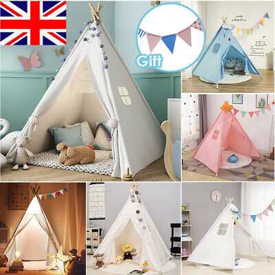 Large Canvas Kids Teepee Indian Tent Childrens Wigwam Indoor Outdoor Play House • 23.99£
