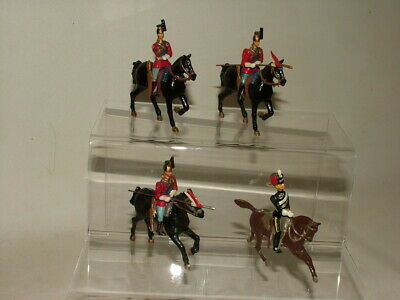 Britains ? Vintage Toy Soldiers Cavalry Bundle Hussars Dragoons Solid Lead X4 • 5£