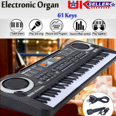 61 Keys Digital Electronic Piano Electric Music Keyboard Organ Mini Microphone • 14.25£