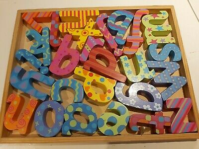KIDS Alphabet MULTI Letters And Tray Wooden Set • 6£