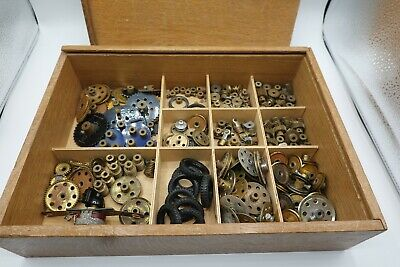 Meccano Lot Wooden Box Of Wheels Gears Pullies  Tyres Mostly 1970s • 65£