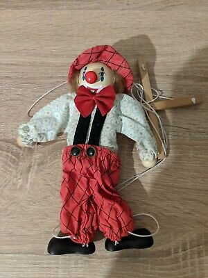 Wooden Vintage Clown Puppet Marionette Collectable • 2.90£
