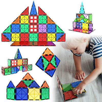 Magnetic Tiles 46 Pcs Construction Toy Set Kids Building Blocks 3D Puzzle 6.5cm • 17.39£