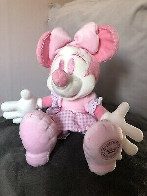 Disney Store Stamped Minnie Mouse Pink Rare Soft Toy Plush • 9£