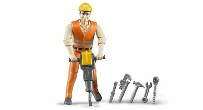 Construction Worker Figure & Accessories - Bruder 60020 Scale 1:16 NEW • 10£