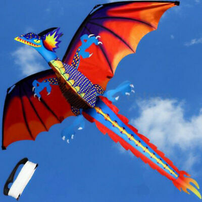 Large Classical 3D Flying Dragon Kite 140*120cm Line Tail Outdoor Kids Play Toy • 12.99£