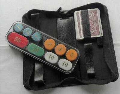 Zipped Vinyl Case Containing 100 Mixed Poker  Or Gaming Chips • 2.99£