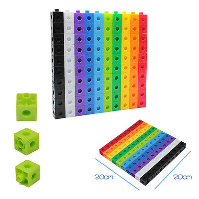100 X 2cm Maths Link Cubes Interlocking Snap Cubes Counting Snap Blocks Toy Gift • 9.79£
