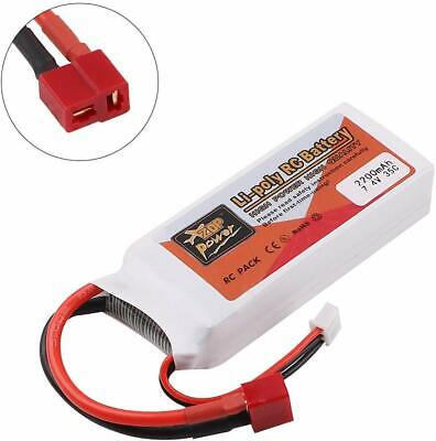 ZOP Power 2200mAh 7.4V 35C 2S LiPo Battery T Plug For RC Car Airplane Helicopter • 12.98£