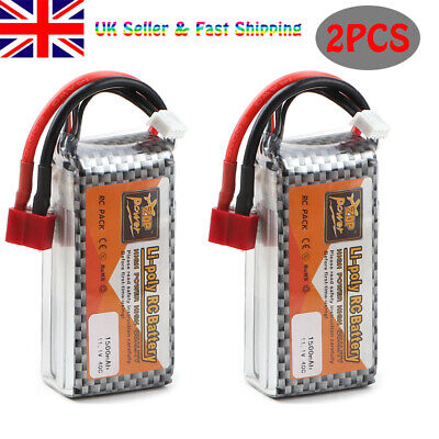 2pcs ZOP 1500mAh 11.1V 3S LiPo Battery 40C T Plug For RC Car Airplane Helicopter • 25.98£