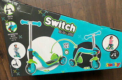 NEW SMOBY Children's Switch Blue 2-in-1 Rider-on Scooter • 9.99£