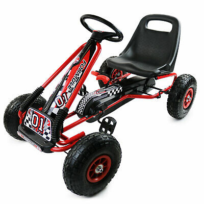 NEW! Red Kids Childrens Pedal Racing Go-Kart Ride-On Rubber Wheels • 67.99£