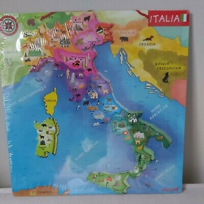 Toys Wooden Geography Italy Inset Jigsaw Puzzle Educational • 9£