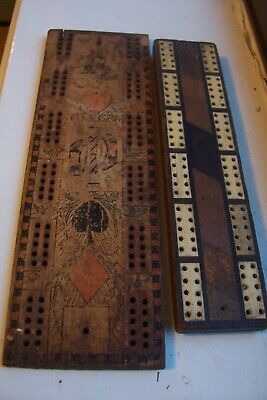 Antique Crib Boards X 2 Inlaid Bone And Hardwood Also Suite Of Cards • 10£