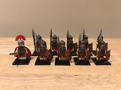 Roman Soldiers And Centurion (10) Unbranded Custom Figures Which Fit Lego Studs • 13.25£