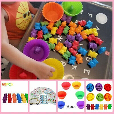 Counting Bears With Stacking Cups Montessori Color Sorting Matching Game Toys • 10.95£