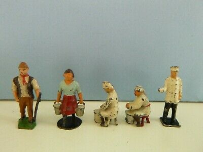 Vintage Lead Charbens & Taylor And Barrett Farm People Milkmaids Cowman Milkman • 2.47£