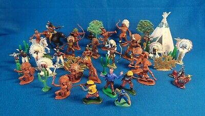 Vintage CRESENT KELLOGGS HERALD Cowboy Indian Toy Plastic Figures 60s Hong Kong • 6.99£
