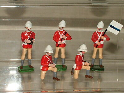 BRITISH BULLDOG 54mm VINTAGE TOY SOLDIERS BRITISH SIGNAL CORPS BUNDLE OF 5 • 5£