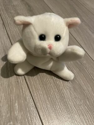 Unbranded White Cat Bean Bag Pink Nose Plush Soft Toy • 0.99£