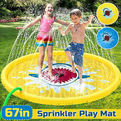 170cm/67  Kids Inflatable Sprinkler Pad Play Mat Water Pad Wading To • 13.99£