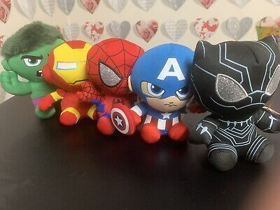Ty Marvel Bundle Black Panther,Iron Man Spider-Man,Hulk, Captain America BNWT • 22.50£