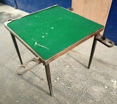 Vintage ~Folding Card/ Games /Jigsaw Table With Counter Trays ~Green Felt Top • 9.99£