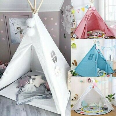 Large Canvas Kids Teepee Indian Tent Childrens Wigwam Indoor Outdoor Play Houses • 19.98£