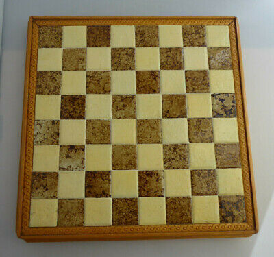 Vintage Handcrafted Chessboard With Edge Decoration - 32.5cm X 32.5cm • 20£